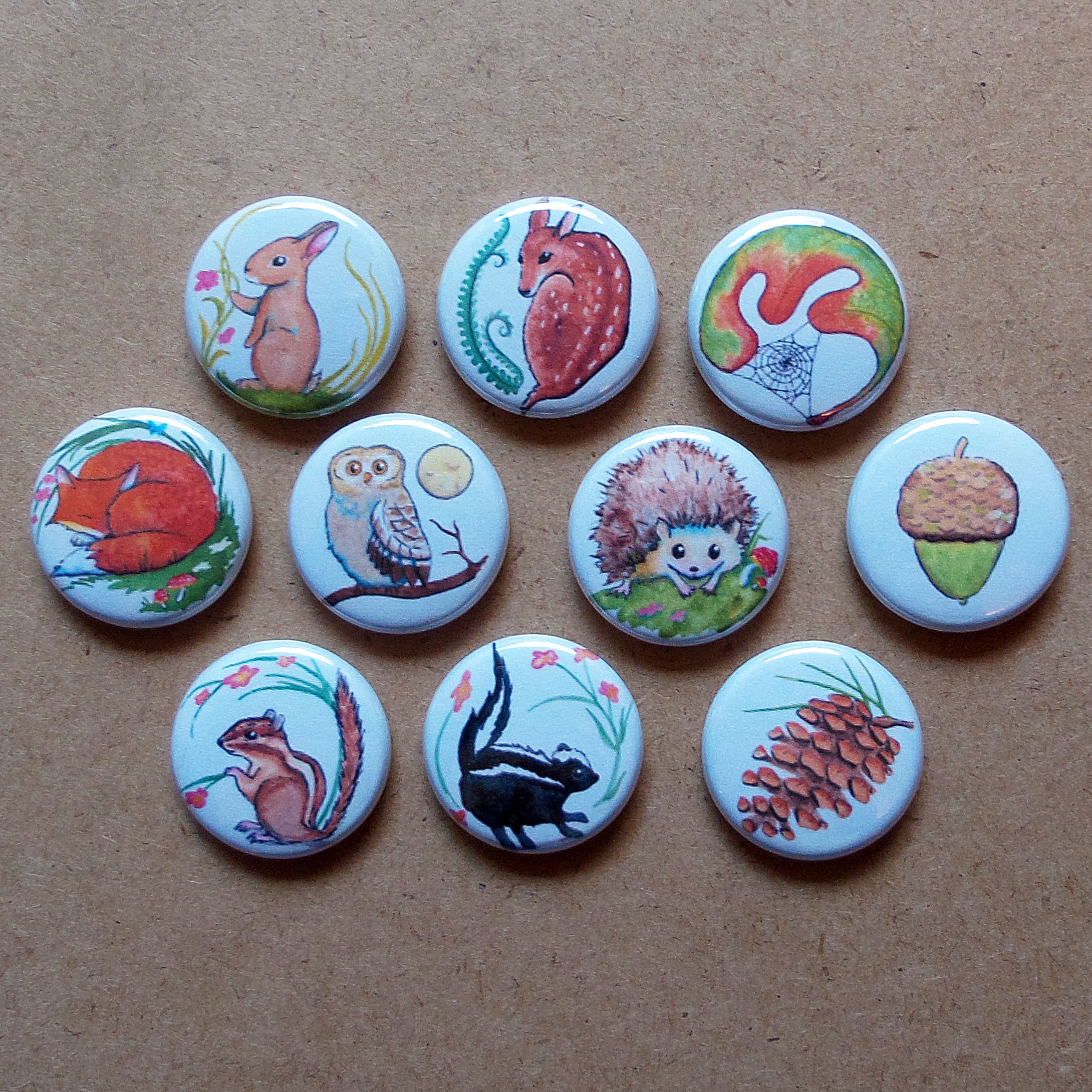 Woodland Pinback Buttons / Badges