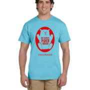 Red ink on sky blue shirt - Poke the Bear