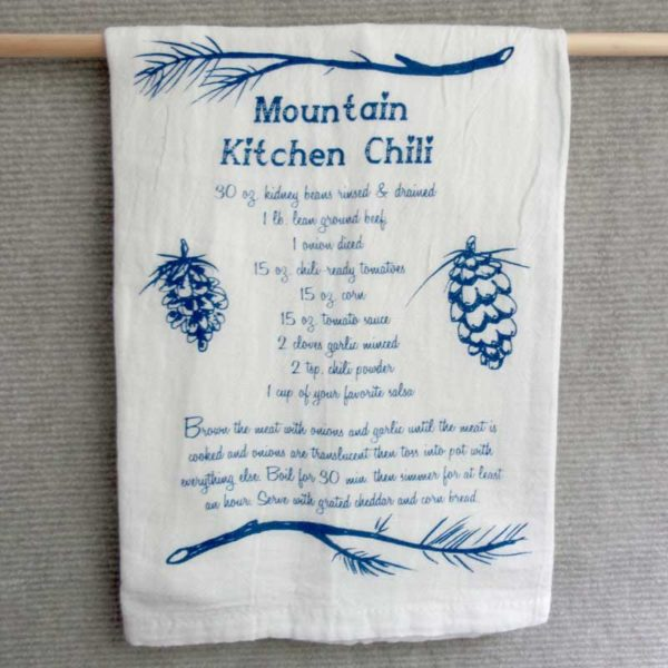 Chili recipe dish towel
